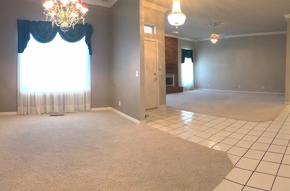 Front rooms of house after seller cleaned and ready for buyer's final walkthrough inspection