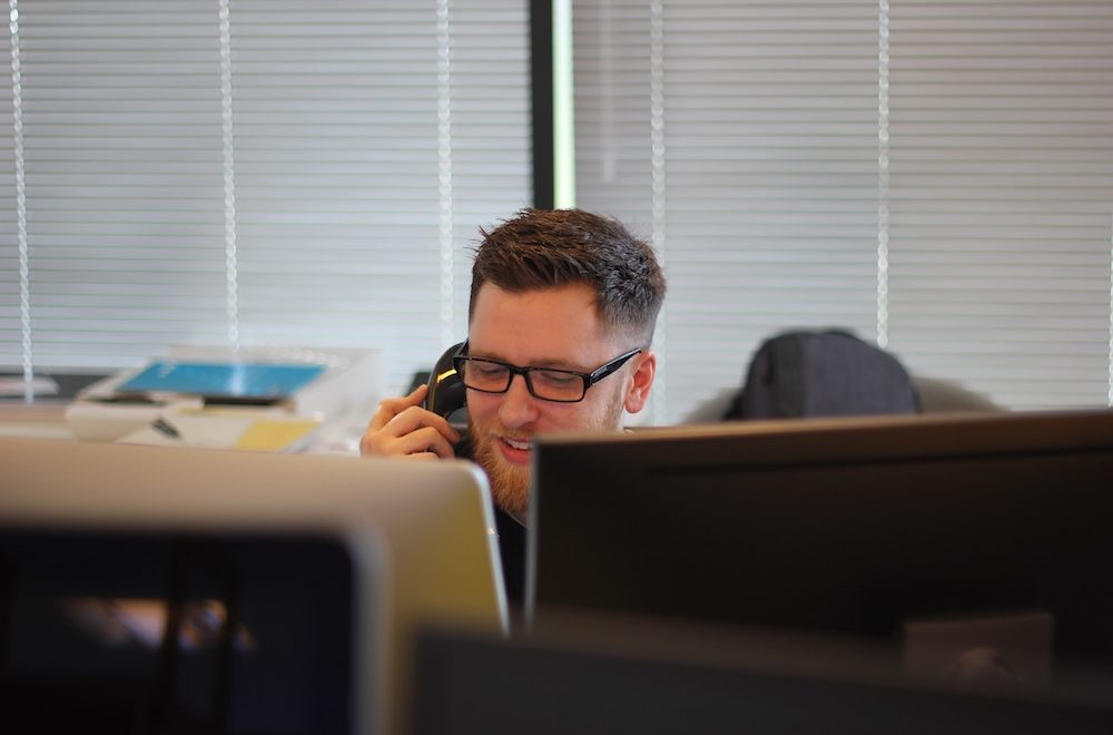 Man on the telephone in an office