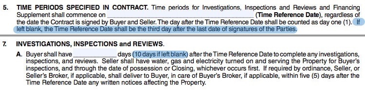Excerpt from the Oklahoma Uniform Contract for Purchase of Real Estate shows standard time period for investigations, inspections and reviews.