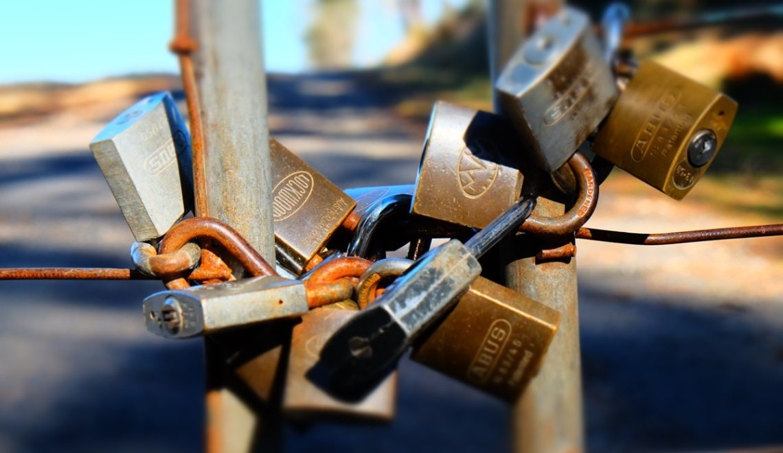 photo of padlocks on fence, signifying security