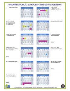 2018-2019 Shawnee Oklahoma Public Schools Calendar