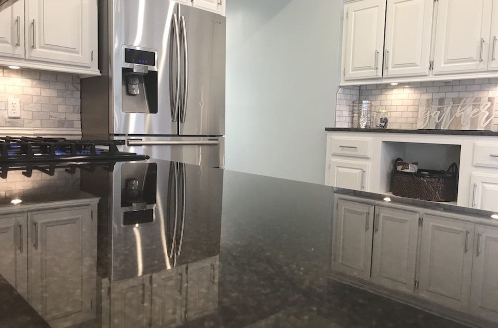 staged kitchen with clean and clutter-free countertop