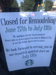 "Shawnee Starbucks ""Closed for Remodeling"" sign"