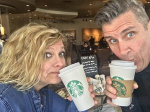 Sharon and Steve drinking coffee at Starbucks