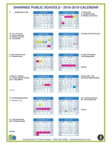 Updated Shawnee Public Schools 2018-2019 Calendar