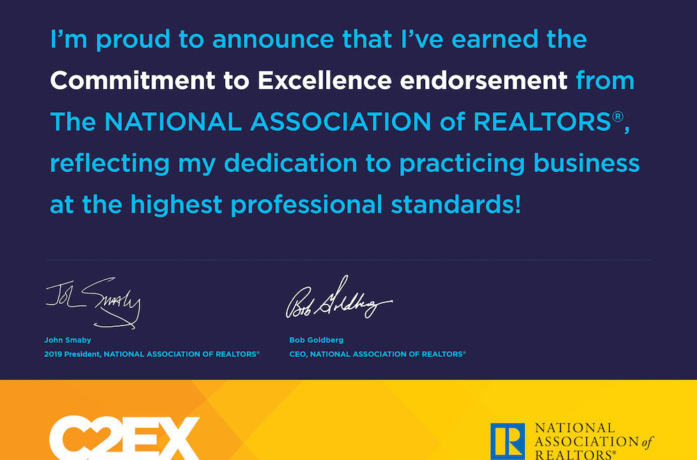 Certificate signifying Steve Reese earned the Commitment to Excellence endorsement from the National Association of REALTORS®