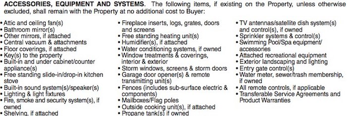 List of accessories, equipment and systems that are considered fixtures and remain with the property