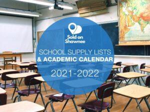 Graphic for 2020-2021 Shawnee Public Schools Academic Calendar and School Supply Lists (empty school classroom with desks)