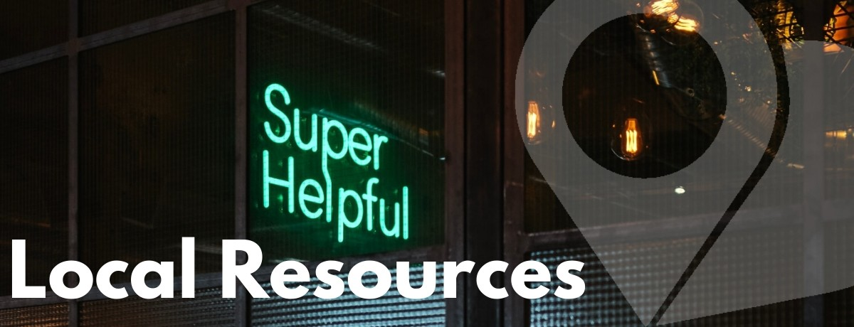 "Neon ""Super Helpful"" sign Local Resources"