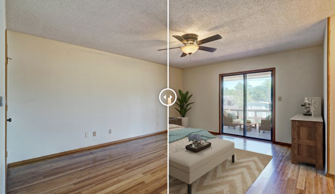 Photos in this blog post have sliders to see dramatic before and after virtual staging results
