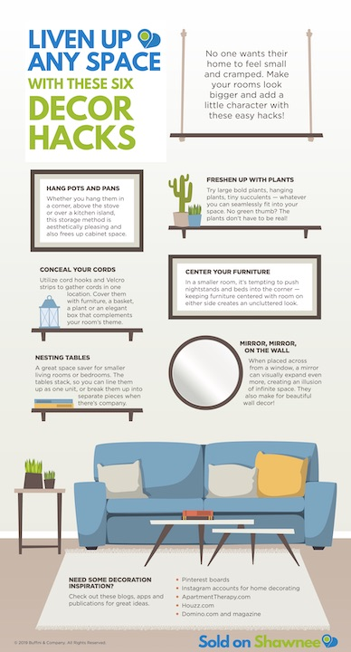 Image of infographic 6 decor hacks for small spaces