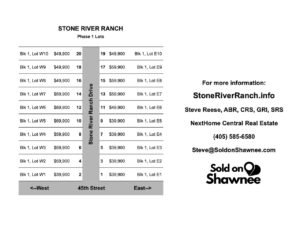 Stone River Ranch Building Lots Price Sheet starting at $39,900
